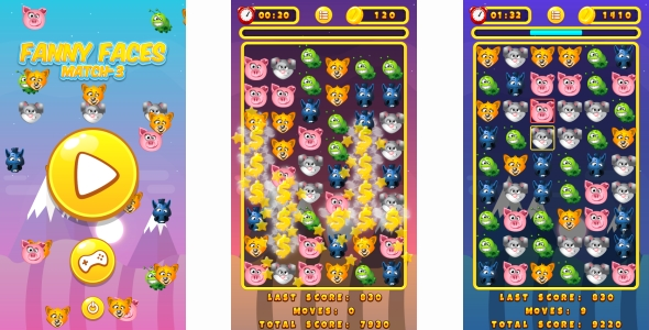 Funny Faces Match3 - HTML5 Game + Android + AdMob (Construct 3 | Construct 2 | Capx) Download