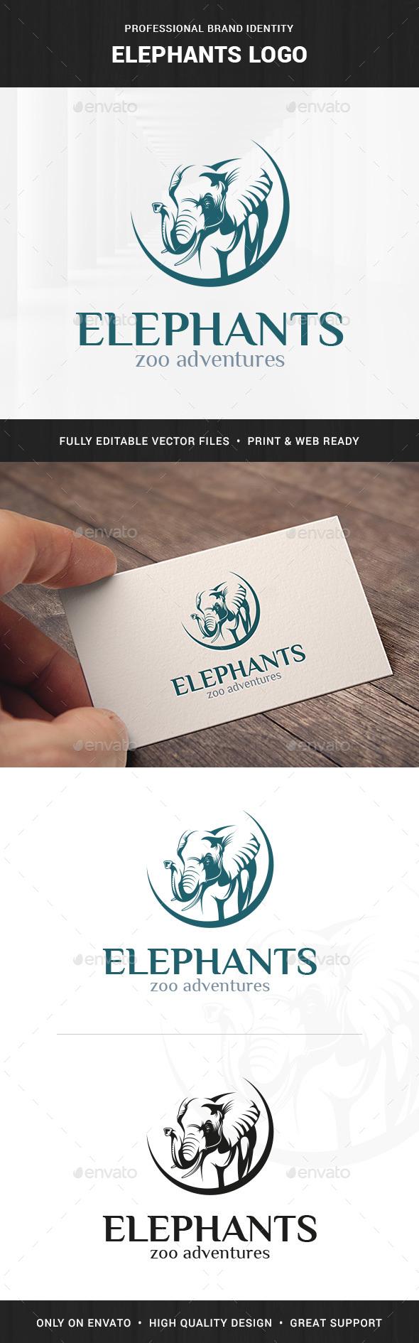 Elephants Logo Template