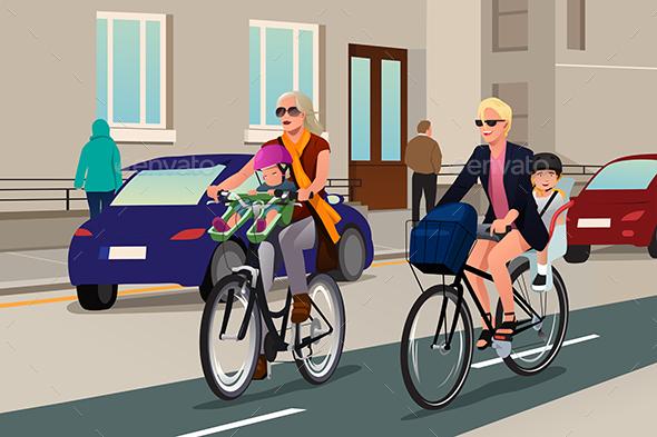 Women Biking with Their Kids