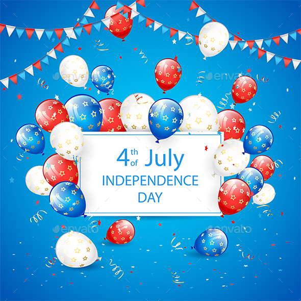 Independence Day Balloons and Tinsel on Blue Holiday Background