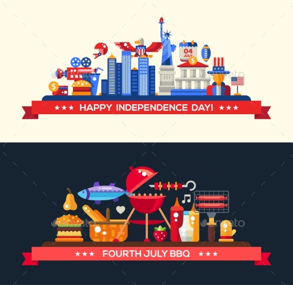 USA Independence Day and BBQ Banners Set
