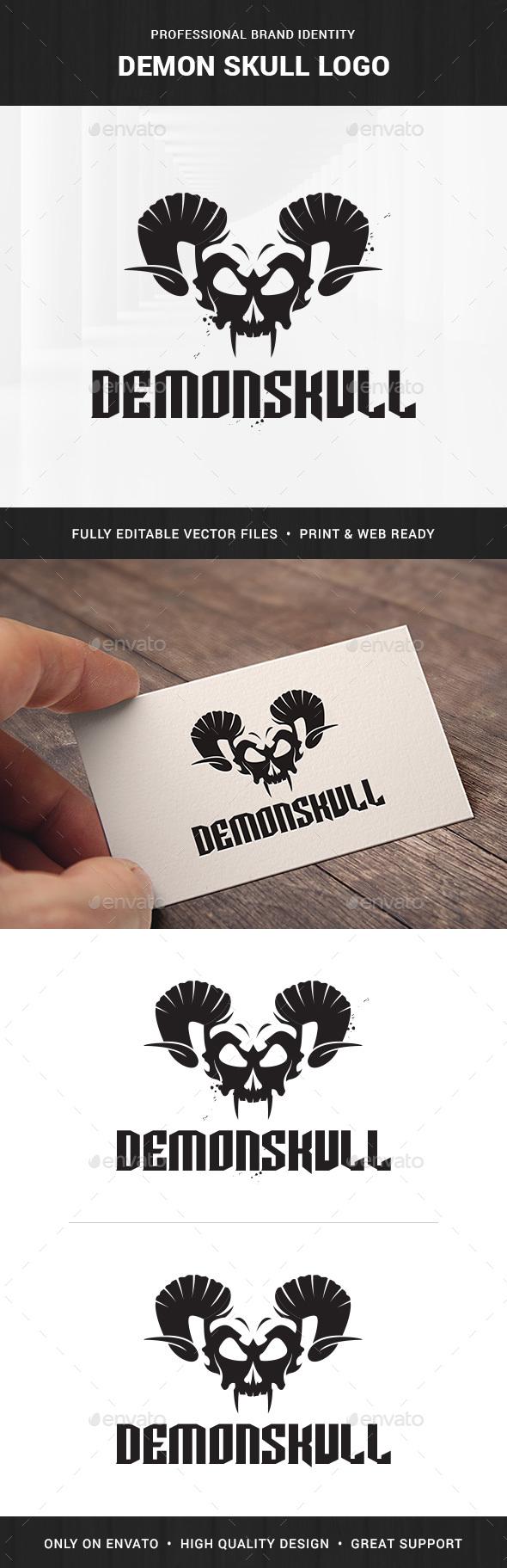 Demon Skull Logo Template