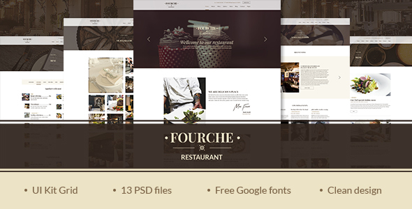 Fourche — Ultramodern Restaurant | Cafe PSD Template
