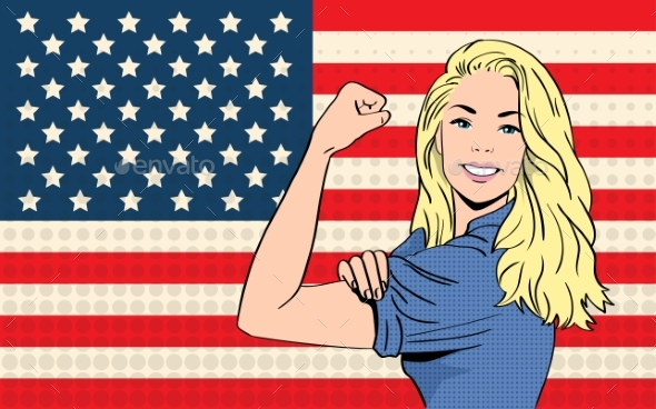Woman We Can Do It United States America Flag