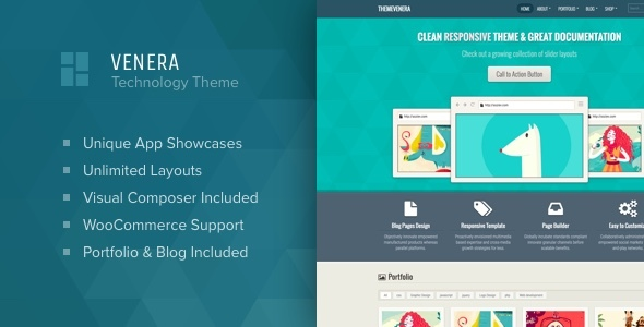 Venera – SAAS landing page and application showcase WordPress theme Free Download