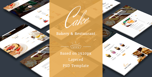 Cake - Easy & Slight Bakery PSD Template