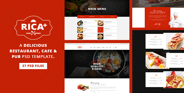 Rica Plus - A Delicious Restaurant, Cafe & Pub PSD Template