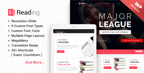 E-Reading Book Store WordPress Theme