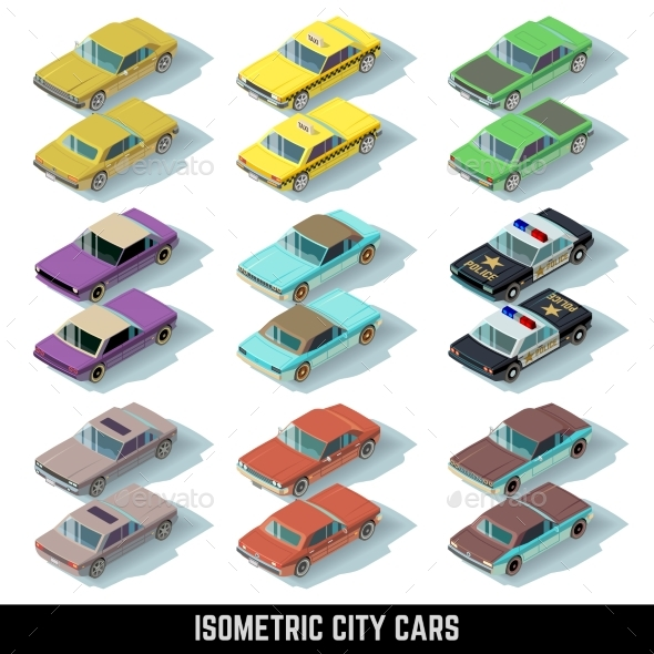 Isometric City Cars Vector Icons in Front and Rear