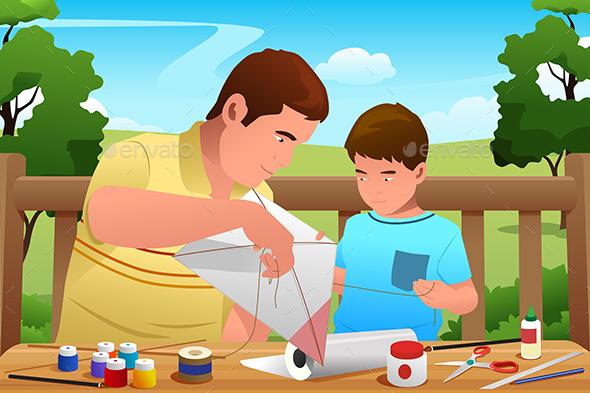 Father Son Making Kite