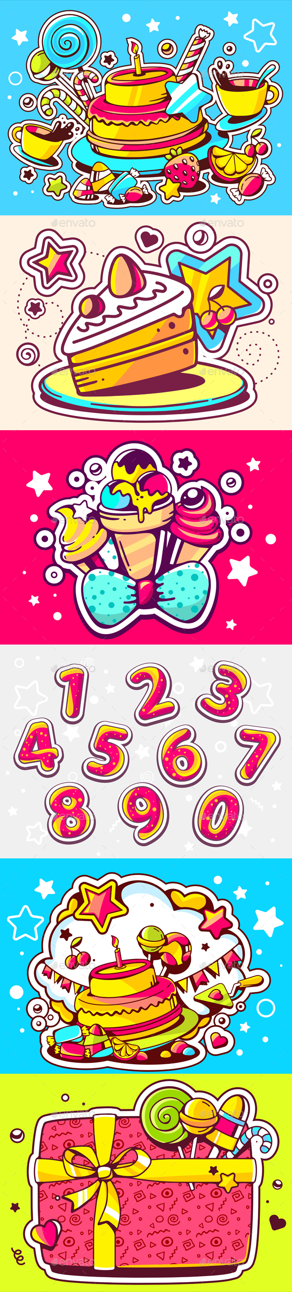 Happy Birthday Illustrations with Numbers