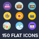 150 Flat Icons - GraphicRiver Item for Sale