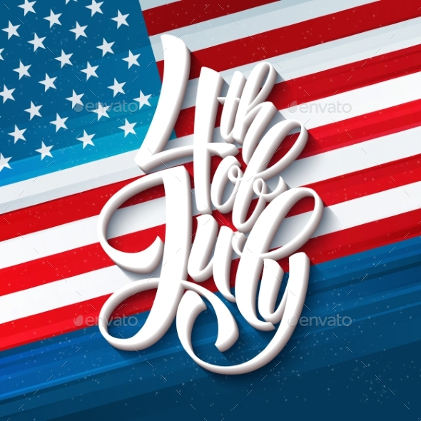 American Independence Day Lettering Design.