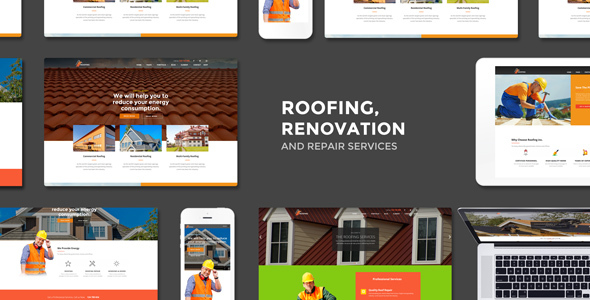 Roofing - Renovation & Repair Service WordPress Theme