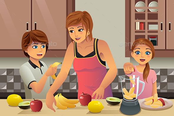 Mother Kids Making Fresh Juice