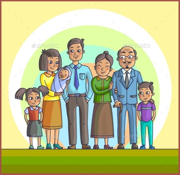 Big Happy Family Parents with Children