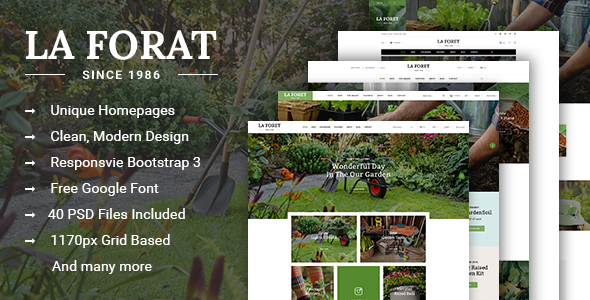 LaForat - Gardening & Landscaping Shop PSD Template
