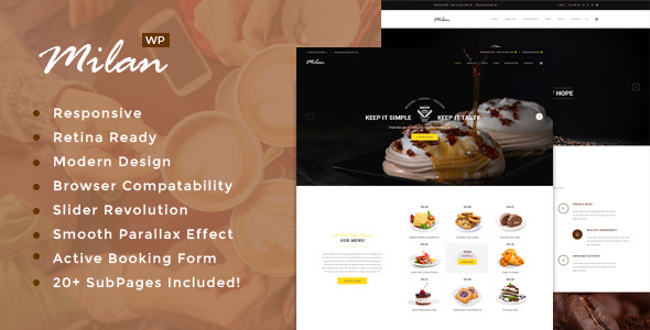 Milan : Restaurant WordPress theme
