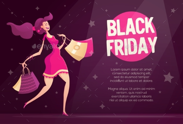 Black Friday Flyer Template With Happy Female