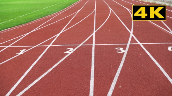 Athletics Stadium With a Red Running Sport Track