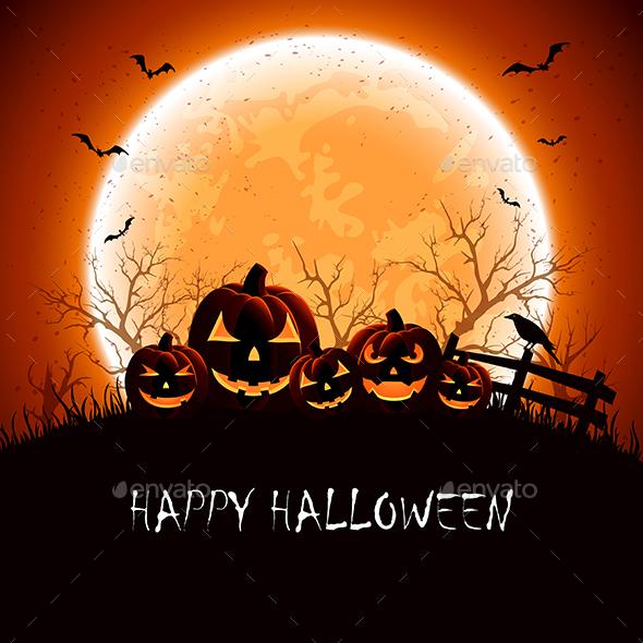 Halloween Night with Pumpkins