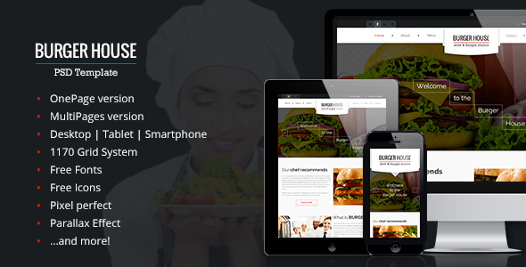 BurgerHouse – Restaurant – Responsive PSD Template