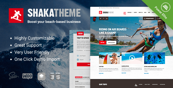 Shaka – A beach business WordPress theme for water sport and activity schools. Surf, kayak and more. Free Download