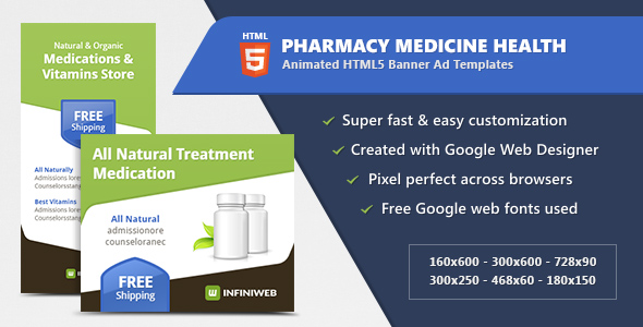 Pharmacy Medicine Health - HTML5 Banner Ad Templates Download