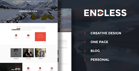 Endless - One Page Personal Blog PSD
