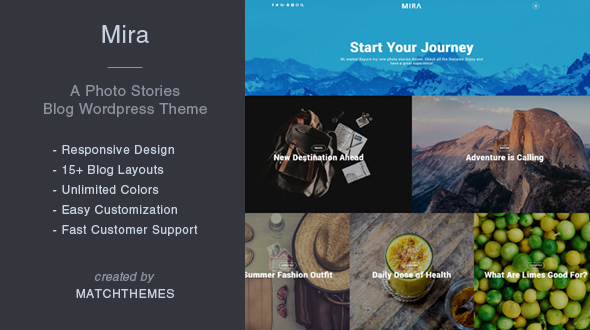 Mira - A Photo Stories Blog Wordpress Theme
