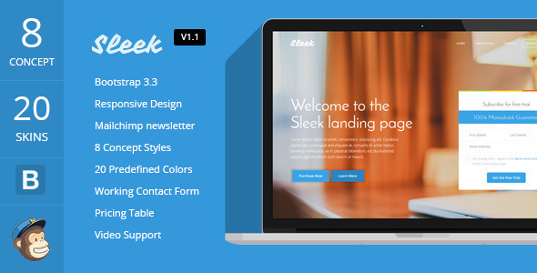 Sleek with Mobirise Responsive Bootstrap Landing Page Builder