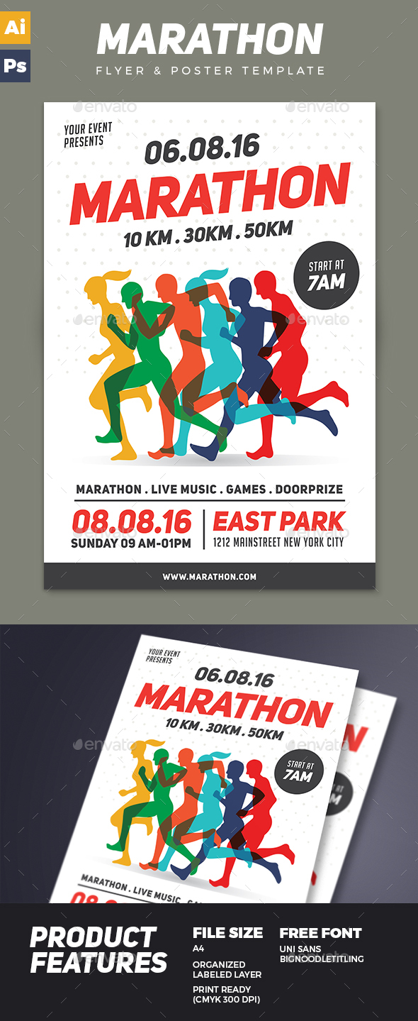 Marathon Flyer Graphics, Designs & Templates from GraphicRiver