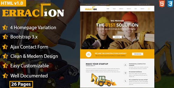 Erraction - Construction Business HTML5 Template