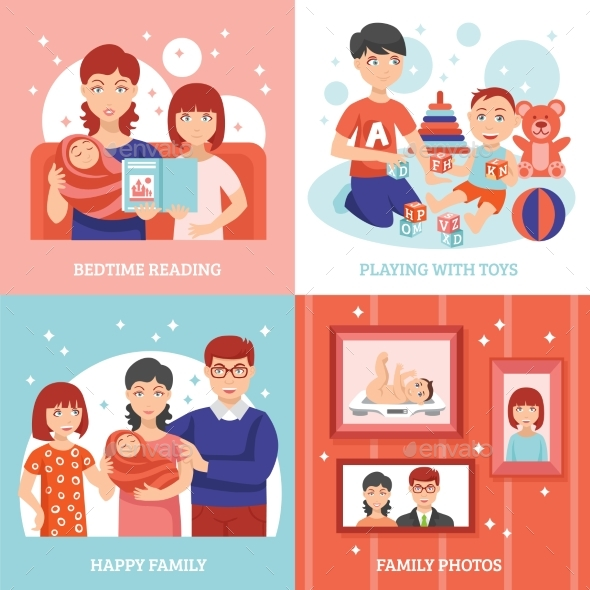Family Concept Icons Set