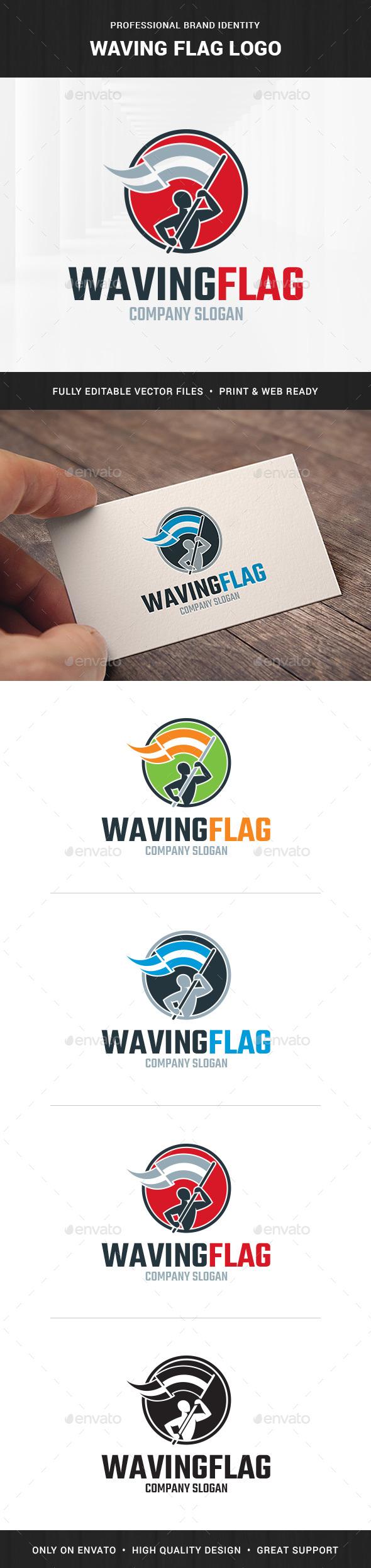 Waving Flag Logo Template