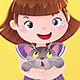Cartoon Illustration of Girl with Kitten Pet - GraphicRiver Item for Sale