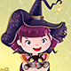 Halloween with a Little Witch, Cat and Pumpkin - GraphicRiver Item for Sale