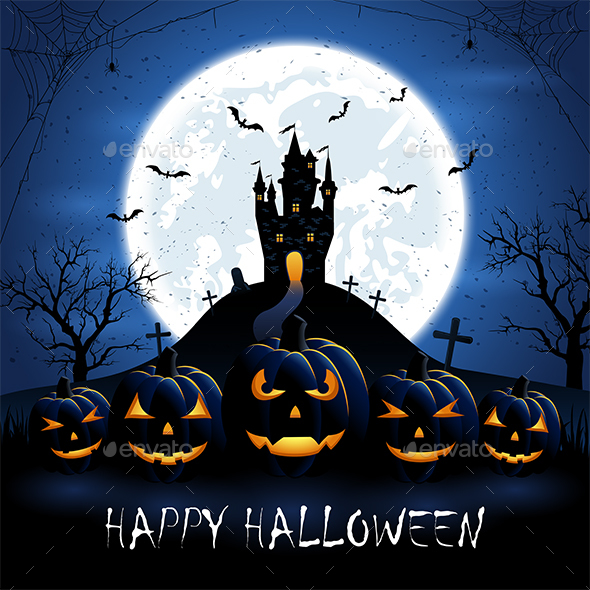Halloween Pumpkins and Castle on Blue Night Background