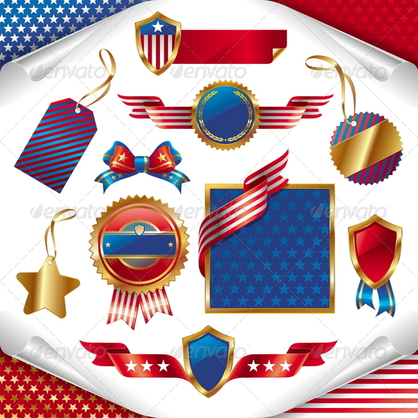 USA Patriotic Signs, Labels, Tags & Emblem