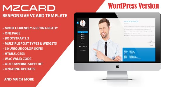 MilZinCard Resume / CV & Portfolio vCard WordPress Theme
