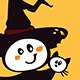 Halloween Witch and Cat on an Yellow Background - GraphicRiver Item for Sale