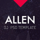 Allen: One Page PSD website template for DJ-Producer and Musicians - ThemeForest Item for Sale