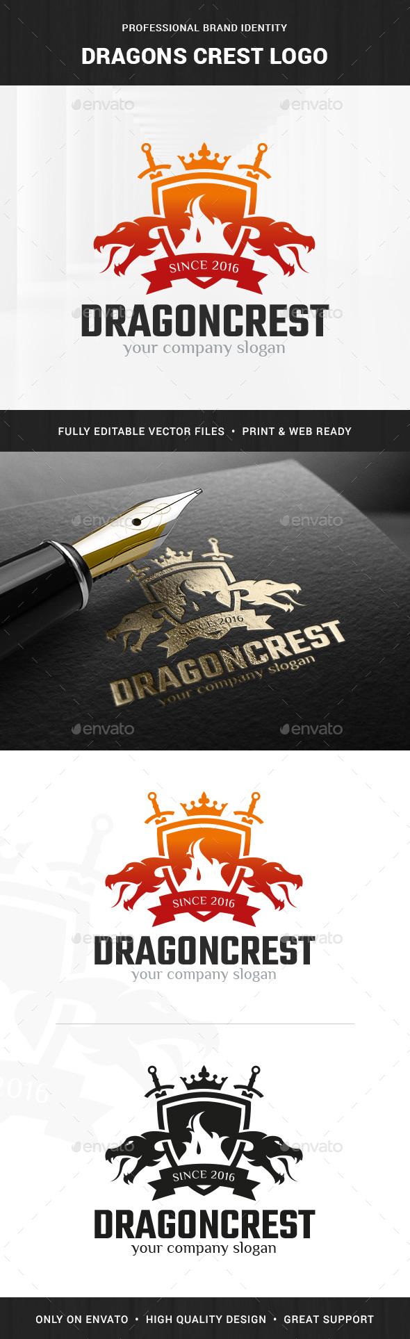 Dragons Crest Logo Template