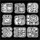 Maya Glyphs, Writing System and Languge Vector Design on Black Background - GraphicRiver Item for Sale