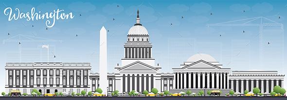 Washington DC Skyline with Gray Buildings and Blue Sky