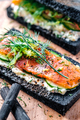 Charcoal Bread Smoked Salmon Sandwiches on wood board - PhotoDune Item for Sale