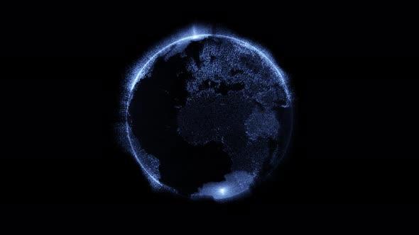 4K Futuristic HUD Earth Rotation