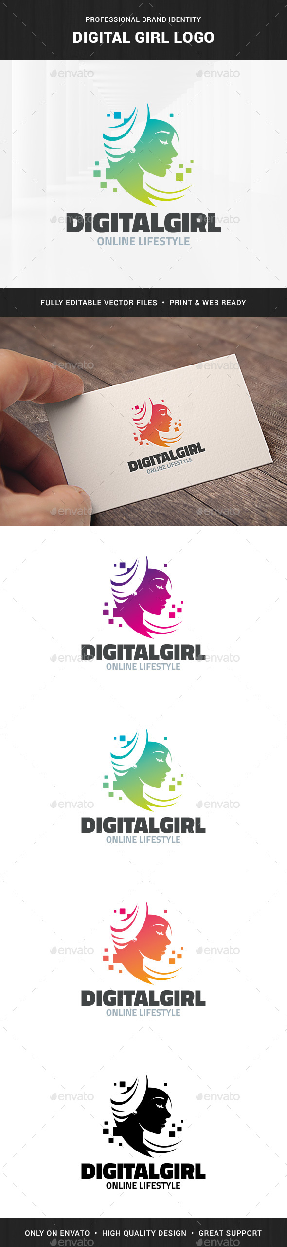 Digital Girl Logo Template