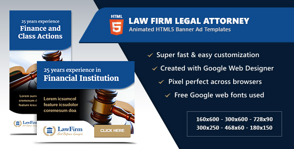 Law Firm Legal Attorney Banners - HTML5 Animated GWD Download