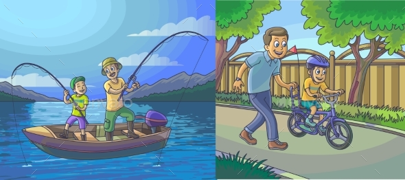Illustration of a Father and Son
